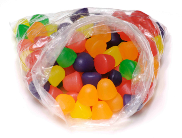 candies in a bopp plastic bag